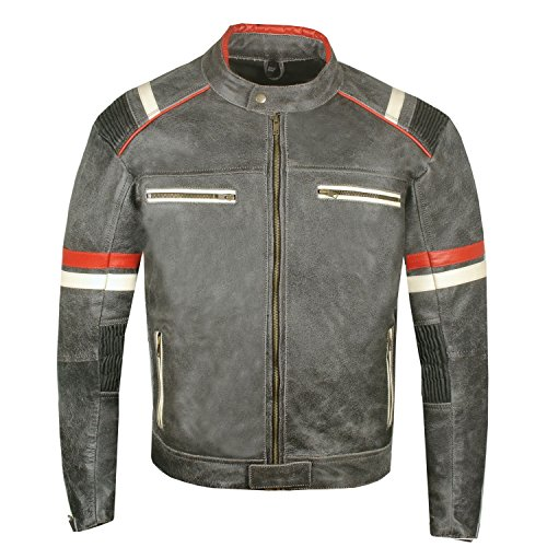 Men's Vintage Cafe Racer Motorcycle Distressed Leather Armor Biker Jacket L