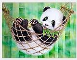 MAXLEAF 5D Full Diamond Painting Kits Creative DIY Art Craft Cute Panda with Diamonds for Kids Adults (Panda Playing on a Swing)