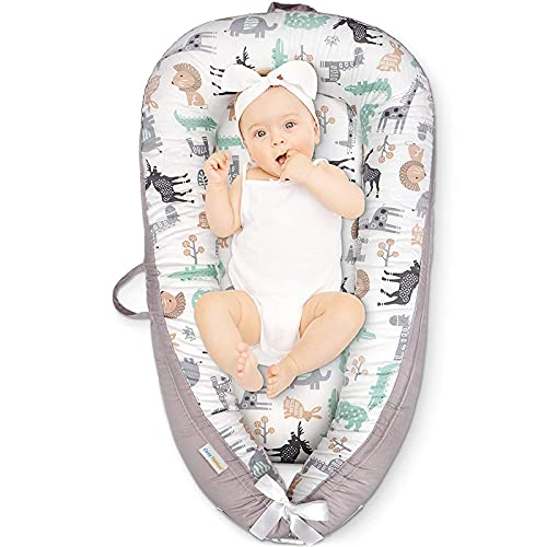 CosyNation Baby Lounger, Baby Nest for Co Sleeping, Ultra Soft and Breathable, Newborn Mattress for Crib & Bassinet, Perfect for Traveling and Napping, Essentials for Baby, Gift for Newborn(Animal)