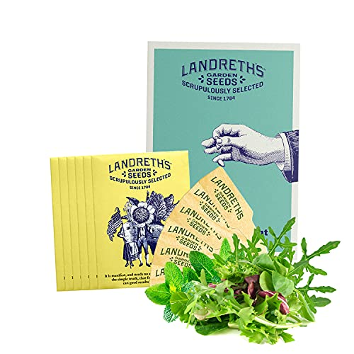 Landreth's Heirloom Vegetable Seed Starter Kit Bundle - Salad Greens and Healthy Lettuce 6 Variety Pack - Non-GMO Easy to Grow Kit for Planting Outdoors Garden Seed Collection with Guide