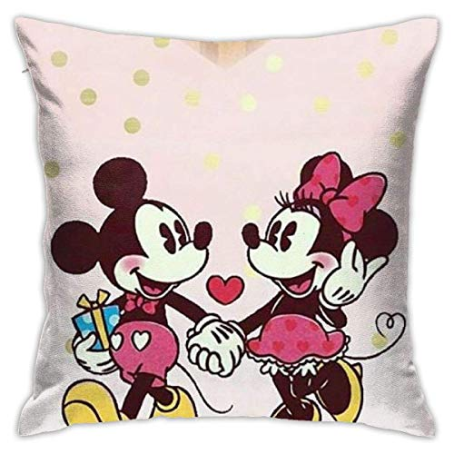 NOON Pillow Cover Cushion Cover Minnie Mouse Love Mickey Decorative Pillow Case Sofa Seat Car Pillowcase Soft Fundas para Almohada 16x16Inch(40cmx40cm)