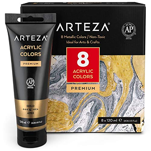 Arteza Metallic Acrylic Paint, Set of 8 Metallic Colors in 4.06oz Tubes, Rich Pigments, Non Fading, Non Toxic Paints for Artists, Hobby Painters & Kids, Ideal for Canvas Painting & Crafts