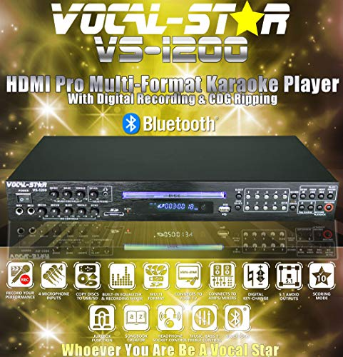 Vocal-Star VS-1200 CDG DVD HDMI Bluetooth Karaoke Machine With 4 Microphone Inputs