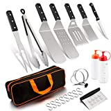 Leonyo Griddle Accessories Tool Set of 12 with Carrying Bag, Solid Metal Spatula for Flat Top Teppanyaki BBQ Gas Grilling, Triple-Riveted Grip, Attached 8 x Hooks, Dishwasher Safe, Man Gift
