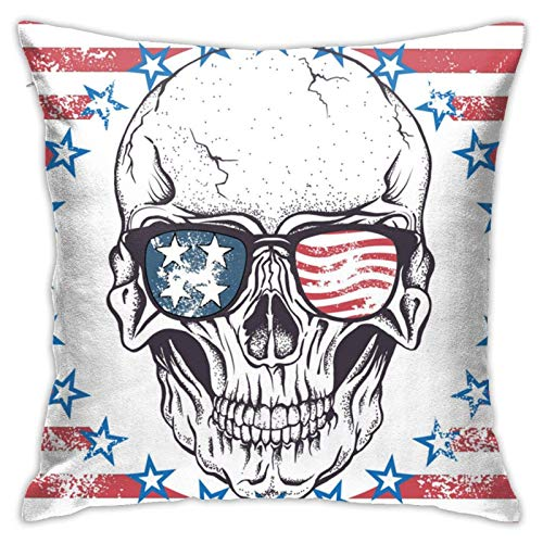 XCNGG Funda de Almohada Skull-of-Human-with-Sunglasses Plush Fabric Fashion Square Pillowcase Cushion Cover Sofa Pillowcase 18in18in