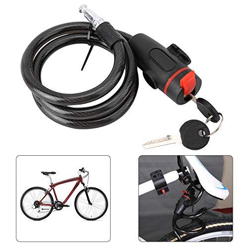 Pangding Bicicleta Cable de Bloqueo, antirrobo Ciclismo al Aire Libre Protección de Seguridad Cerradura de Cadena de Acero Cerrojos para Bicicleta de montaña Motocicleta Bicicleta Negro