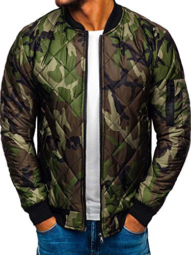 BOLF Herren Bomberjacke Übergangsjacke mit Reißverschluss ohne Kapuze Camo Army Stehkragen Motiv Sport Style J.Style MY01 Khaki M [4D4]