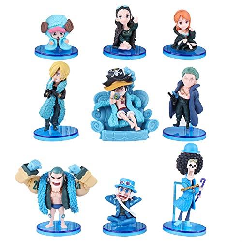 ioth 9pcs Carácter de acción One Piece Series Monkey D. Luffy Decoración Regalo Modelo Cómic Party Decoración 10 cm
