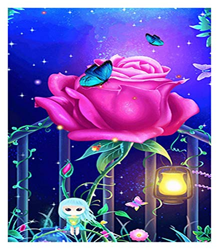 DIY 5D Diamond Painting Kit for Adults Children Full Drill Round Kits Rhinestone Pasted Embroidery Cross Stitch Arts Craft Home Wall Decor, Christmas Pine Tree Lights (Color : Beautiful Roses)