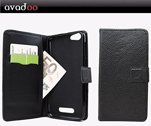 avadoo® Cubot Note S Flip Case Cover Tasche Schwarz mit Magnetverschluss und Dualnaht als Cover Tasche Hülle