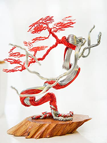 Mini Bonsai Copper Wire Tree Sculpture, Tree Sculptures Modern, Best Gift, Handcraft, Home Decor, Office Decoration by GREENHANDSHAKE (Red)