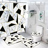 4 Pcs Marble Shower Curtain Set with Rugs, Toilet Lid Cover Bath Mat, Black White Geometric Shower Curtain with 12 Hooks, Black and Gold Shower Curtain for Bathroom, Fabric Marble Bathroom Set