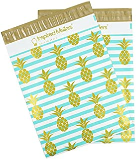 Inspired Mailers Poly Mailers 10x13 Deluxe Golden Pineapple Print - Pack of 100 - Unpadded Shipping Bags