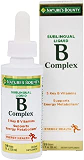 Nature's Bounty B Complex with B12 Sublingual Liquid Fast Acting Dietary Supplement 2 FL OZ
