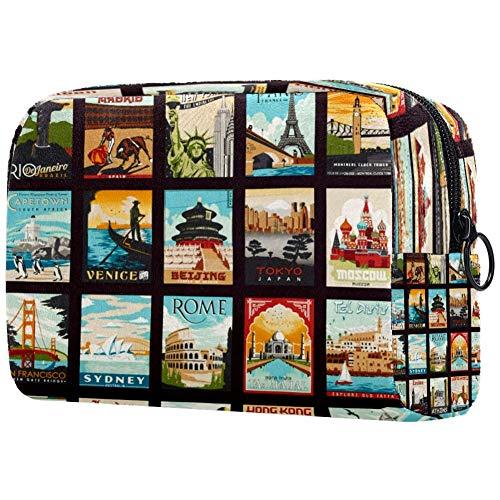 Bolsa de maquillaje para viajes turísticos lugares de interés, bolsa de maquillaje, organizador para viajes, bolsa de aseo portátil para niñas, mujeres