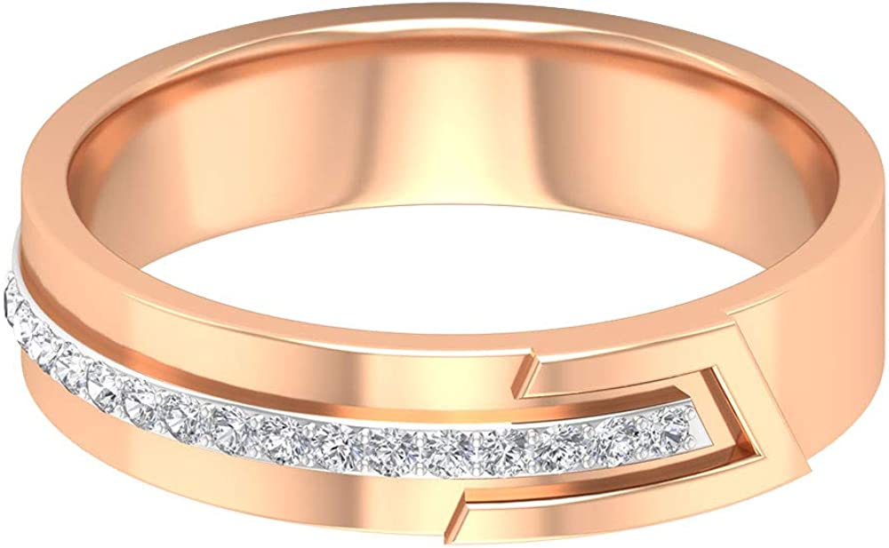 Unique Wedding Band, HI-SI Certified Round Diamond Ring, Antique Bar Statement Ring, Mixed Metal Ring, Office Wear Ring, Anniversary Ring for Women, 14K Gold