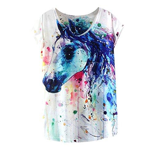 LAEMILIA T-Shirt Femme Imprimé Aquarelle Motif Animal Mignon Lâche Casual Manches Courtes Tee Veste Haut Top