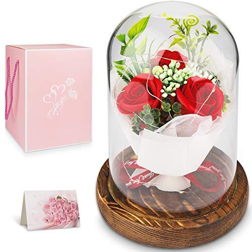 Conjunto de Rosas,Bella y Encantadora Bestia roja,Elegante cúpula de Cristal con luz LED de Base de Pino,día de la Madre,día de San valentín,Aniversario,Belleza de la Boda y Regalo mágico