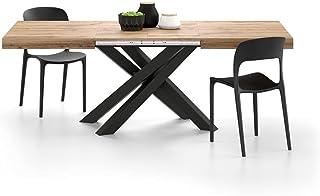 Mobili Fiver, Table Extensible Emma 140, Bois Rustique, avec Pieds Noirs croisés, Mélaminé/Fer, Made in Italy