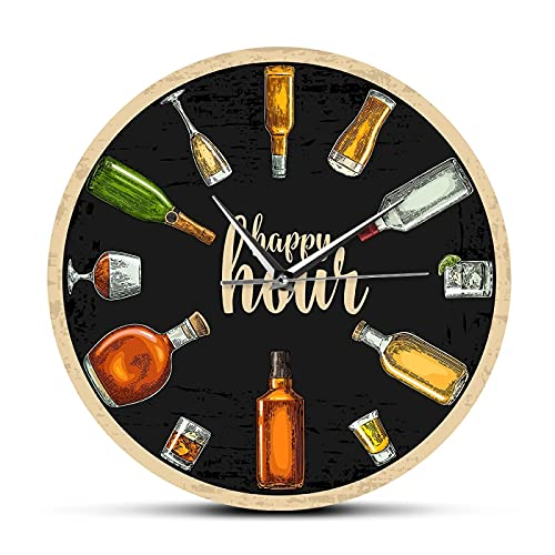 Reloj de Pared Happy Hour Wine Time Wine O'Clock Reloj de Pared para Bebidas alcohólicas Hombre Cueva Pub Bar Decoración de Pared Restaurante Bebedor de Vino Alcohol Regalos Bodega Arte