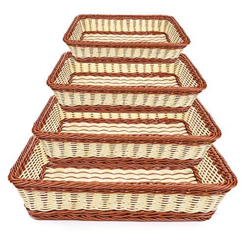 Yarlung 4 Pack Imitation Rattan Woven Breads Basket, Stackable Rectangular Poly Wicker Fruit Baskets for Food Serving, Display, Vegetables, Home Kitchen, Restaurant, Outdoor, Brown & Cream, 4 Sizes