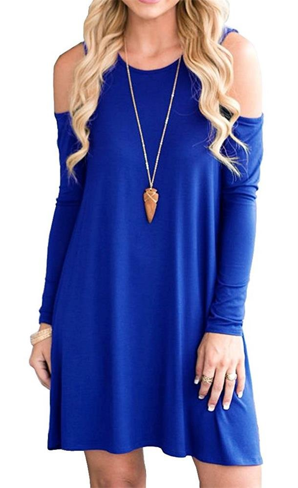 Available at Amazon: PCEAIIH Women's Summer Cold Shoulder Tunic Top Swing T-Shirt Loose Dress with Pockets