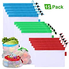 Set of 15 Colorful Bags: 5 Large - Blue (12x17in/30x43cm), 5 Medium - Green (12x14in/30x35cm), 5 Small - Red (12x8in/30x20cm); 3 different sizes makes them very versatile, just take one from the bundle easily by its color and you have the correct bag...