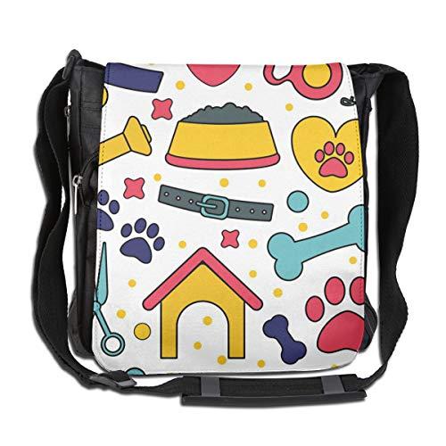 Doinh Pet Nahtlose Muster Hintergründe für Haustier-Shop, maßgeschneiderte Canvas-Messenger-Tasche für Männer und Frauen