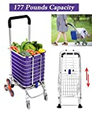 Portable Folding Stair Shopping Cart, Aluminum Stair Climbing Grocery Transit Utility Cart with Bag, Lightweight Trolley with 8 Wheel Rolling Swivel (Shopping Cart - Green Wheels)