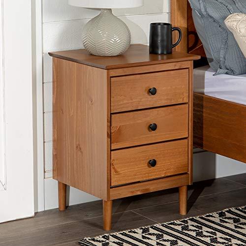 Walker Edison Traditional Wood 3 Drawer Nightstand Side Table Bedroom Storage Drawer and Shelf Bedside End Table, 18 Inch, Caramel