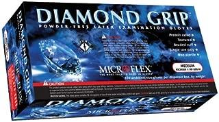 Microflex Medical MF-300-L Large Natural 9.645'' Diamond Grip 6.3 mil Latex Ambidextrous Non-Sterile Medical Grade Powder-Free Disposable Gloves, English, 15.34 fl. oz, Plastic, 1