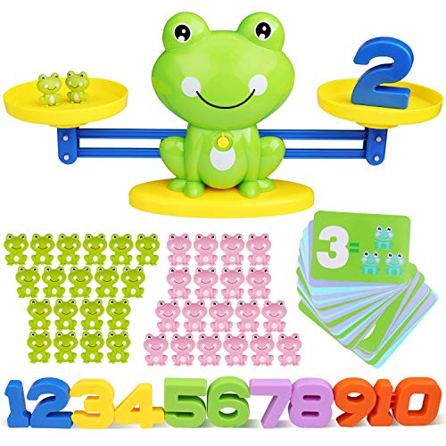 Inpher Balance Math Game, 82 Piece STEM Math Toy Counting Toy Frog Number Educational Learning Tool Pink and Green Mini Frogs Gift for Girls Boys