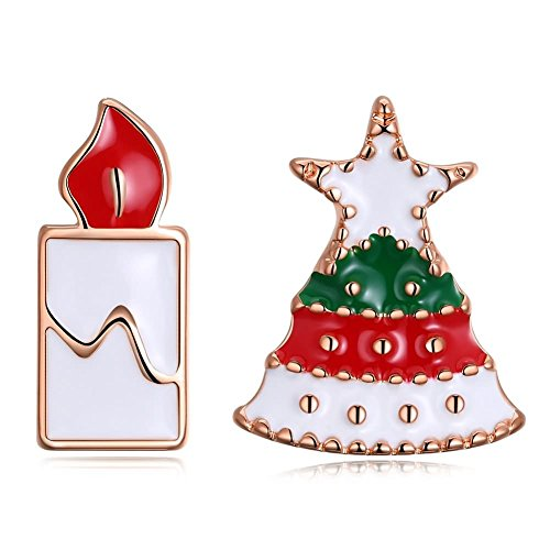 Bishilin Weihnachten Damen Ohrringe Silber Weihnachtsbaum mit Kerzen Ohrstecker Ohrringe Rosegold für Frauen