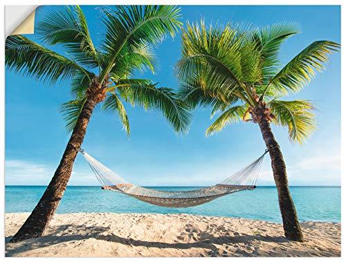 Artland Wandbild selbstklebend Vinylfolie 120x90 cm Wanddeko Wandtattoo Karibik Palmen Strand Meer Hängematte Urlaub Sommer Südsee T4TO