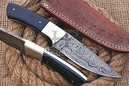 HUNTEX - Escalera forjada a mano con patrón de acero de damasco de 22,86 cm de largo con mango de cuerno de búfalo, afilado, caza, acampada, arbusto, navaja de artesanía con funda de piel auténtica