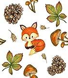 Mesllings Canvas Print Wall Art Pintura Halloween Árbol Gouache Otoño Hojas Ramas Pájaro Fox Seta Calabazas 50,8 x 40,6 cm para decoración del hogar