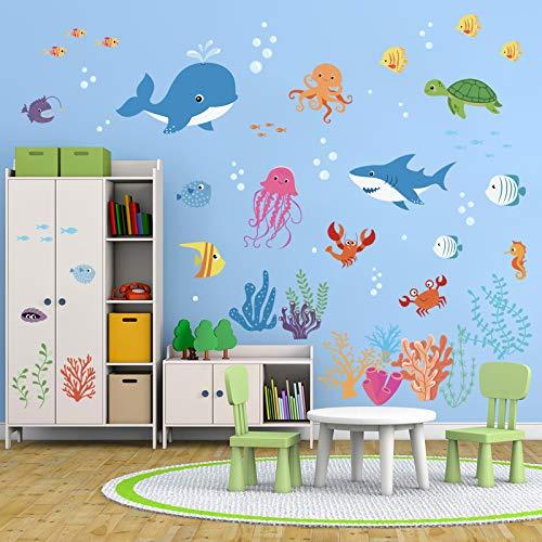 decalmile Unter dem Meer Wandtattoo Bunt Meerestiere Delphin Fisch Wandsticker Entfernbarer Wandaufkleber Babyzimmer Wohnzimmer Schlafzimmer Kinderzimmer Wanddekoration