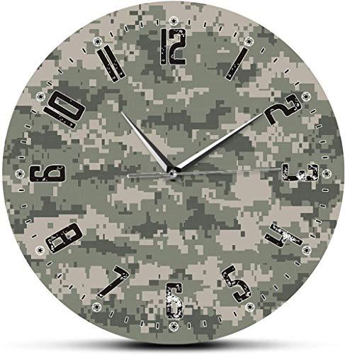 Reloj De Pared Ejército Soliders Camuflaje Verde Arte De La Pared Dormitorio Moderno Reloj De Pared Silencioso Reloj Militar Colgante Reloj De Pared Hombre Cueva Decoración De Camuflaje