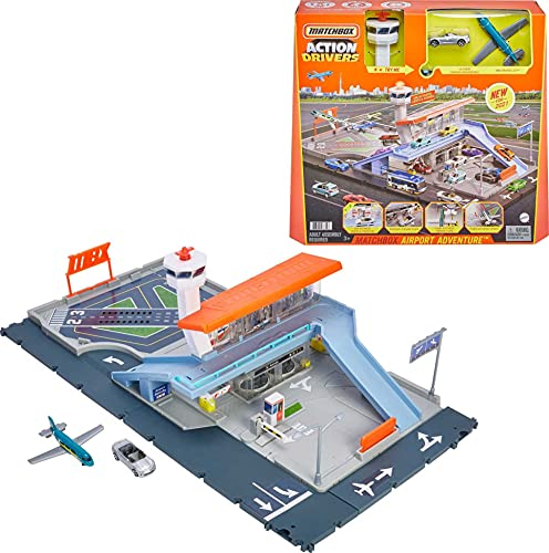 Matchbox Action Drivers Matchbox Airport Adventure with Lights & Sounds & Moving Parts, Includes 1 Car & 1 1 Plane, Connects to Other Sets, Gift for Kids 3 Years Old & Up