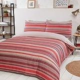 Sleepdown - Set di biancheria da letto double-face, motivo a righe, colore: Rosso