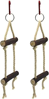 Accessories for Bird- 2pcs Climbing Stair Bird Playing Toy Wooden Ladder Parrot Cage Hanging Toy Educational Toy (Random C...