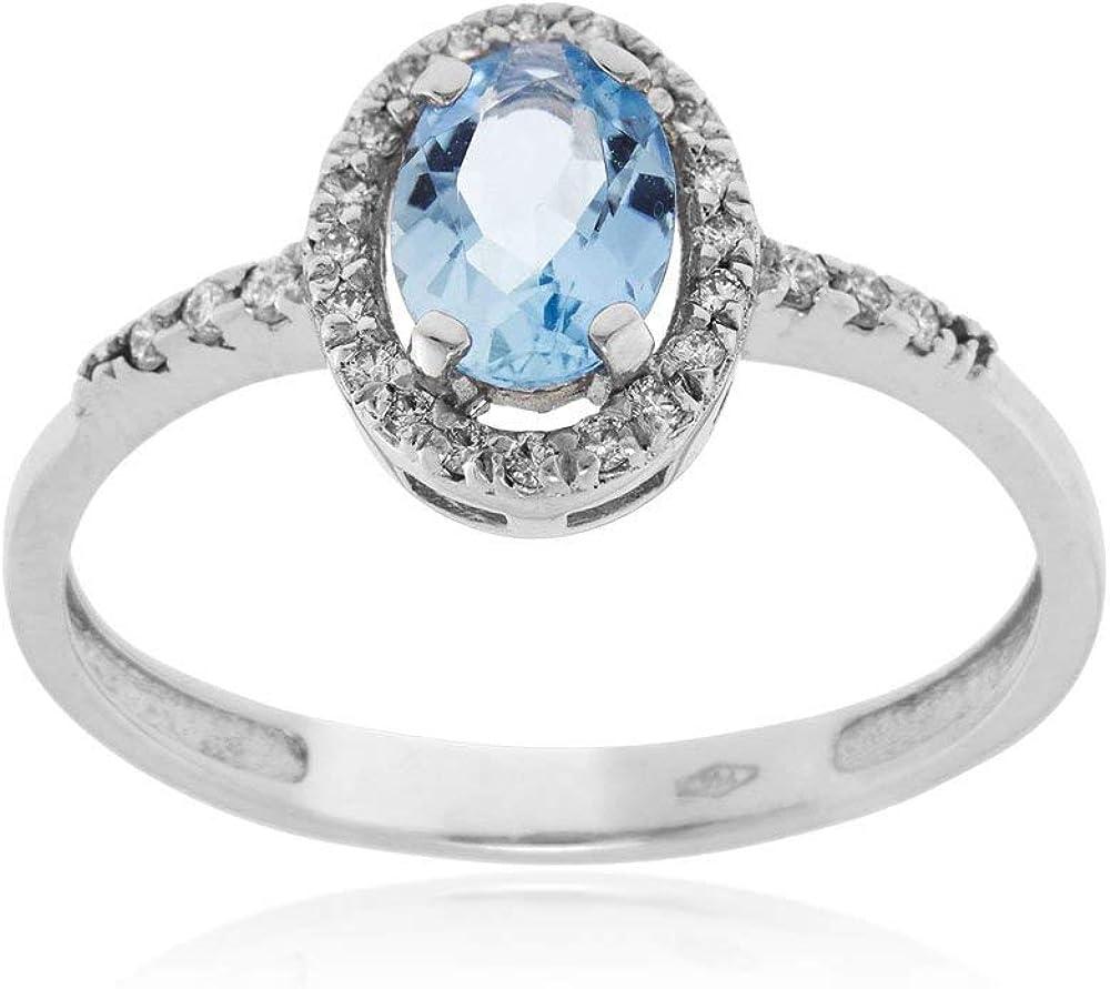 Gioiello italiano - anello in oro bianco con diamanti e acquamarina ovale 18brilan110
