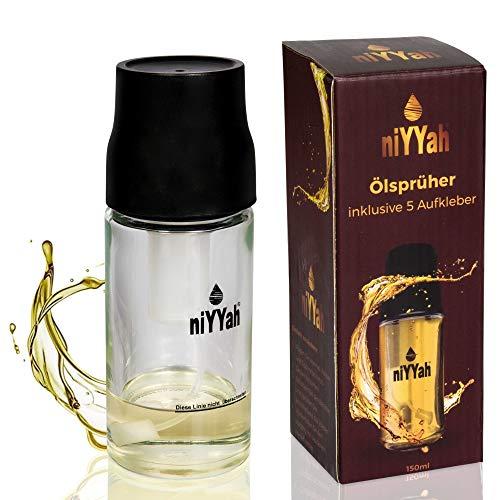NIYYAH Sprühflasche Öl Sprayer, Olivenöl Spray, Sprüher aus Glas, Öl Zerstäuber Flasche zum Kochen, Oil Spray Speiseöl, Essig für BBQ, Backen, Küche, Grillen, BPA-Free 5 Aufkleber