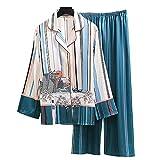 Damen-Pyjama-Set, langärmelig, Satin-Schlafanzug, gestreift, mit Pavillon-Muster, bequem, warm, weich, Polyester, grün, M