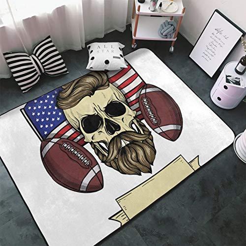Sketch Color Skull American Football Rug Carpet Non Slip Floor Mat Doormats for Living Room Bedroom 60 X 39 In