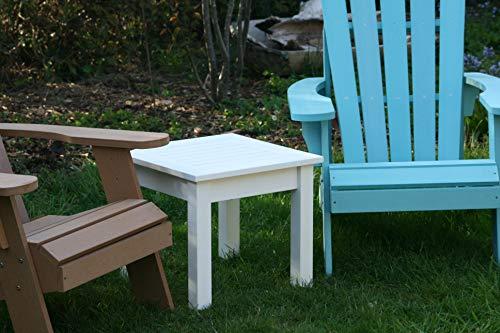 SCHWEEN24 Beistelltisch für Adirondack Stuhl Garten Tisch Kunstholz Holzoptik Polywood (wei)