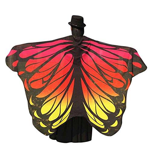 Yowablo Weicher Stoff Schmetterlingsflügel Fee Damen Nymphe Pixie Kostümzubehör (197 * 125cm,5Orange)