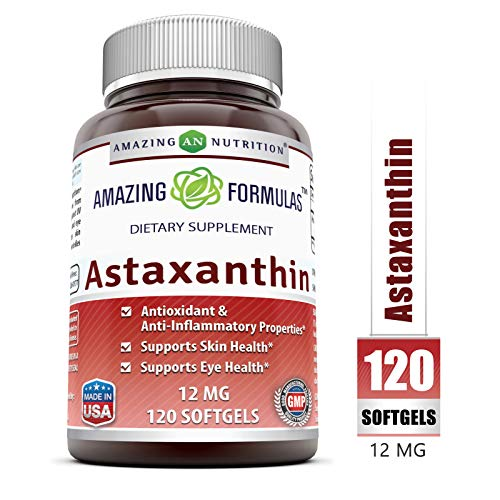 Amazing Formulas Astaxanthin Dietary Supplement - 12Mg - 120 Softgels (Non-GMO,Gluten Free) - Promotes Healthy Skin & Eyes - Powerful Antioxidant - Anti-Inflammatory Properties*