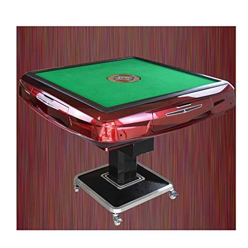 LHLH Automatische Mahjong Tisch Schach Karten Mahjong Set & Racks & Spiel Jongg Kann Kollabiert Automatische Interessante Spiel Entwickeln Intelligenz Erhöhen Freundschaft 100 Watt,Red