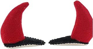 Red Devil Horn Hairpin Halloween Black Bat Hair Clips for Halloween Festive JHH33 (2 Pcs Red Devil Horn)